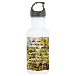 The Serenity Prayer with Nature Photo Bird Water Bottle