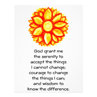 The Serenity Prayer with Red Yellow Lotus Blossom Personalized Letterhead