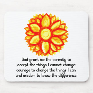 The Serenity Prayer with Red Yellow Lotus Blossom Mouse Pad