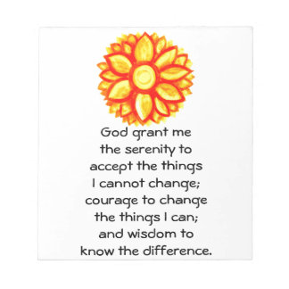 The Serenity Prayer with Red Yellow Lotus Blossom Notepads