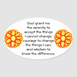 The Serenity Prayer with Red Yellow Lotus Blossom Oval Sticker