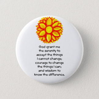 The Serenity Prayer with Red Yellow Lotus Blossom Pinback Button