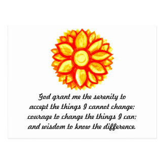 The Serenity Prayer with Red Yellow Lotus Blossom Postcard