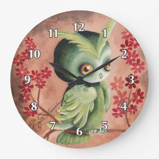 The Serious Green Owl Large Clock