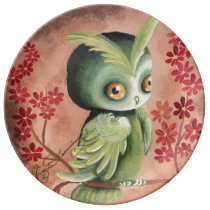 The Serious Green Owl Porcelain Plate