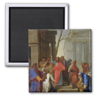 The Sermon of St. Paul at Ephesus, 1649 2 Inch Square Magnet