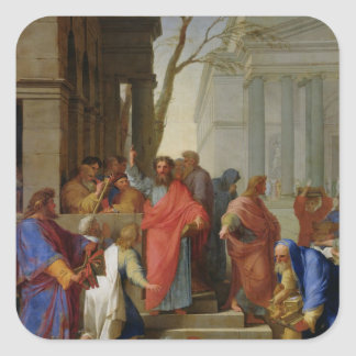 The Sermon of St. Paul at Ephesus, 1649 Square Sticker