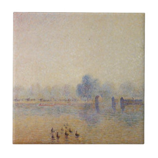 The Serpentine, Hyde Park, Fog Effect by Camille Ceramic Tile