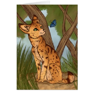 Beach Themed The Serval and the Butterfly Card