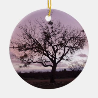 The Setting Sun Frames a Tree in West Texas Ceramic Ornament