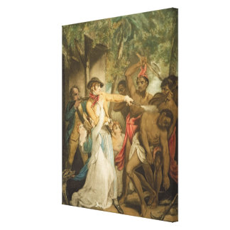 The Settling Family Attacked by Savages, engraved Gallery Wrap Canvas
