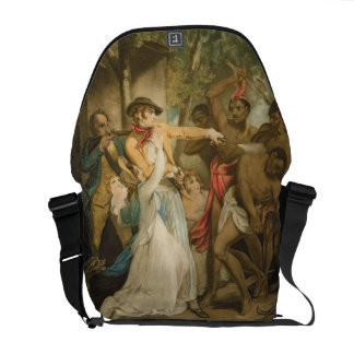 The Settling Family Attacked by Savages, engraved Courier Bag