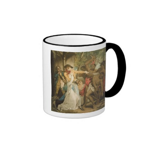 The Settling Family Attacked by Savages, engraved Mug