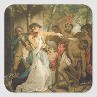 The Settling Family Attacked by Savages, engraved Square Sticker