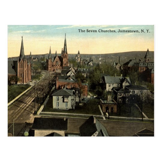 The Seven Churches, Jamestown NY c1915 vintage Postcard | Zazzle.com