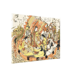 The Seven Gods Good Fortune in the Treasure Boat Gallery Wrap Canvas