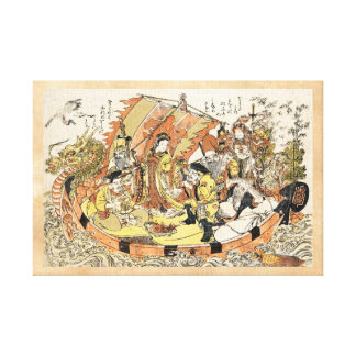 The Seven Gods Good Fortune in the Treasure Boat Gallery Wrapped Canvas