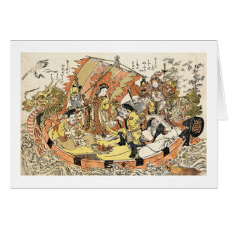 The Seven Gods Good Fortune in the Treasure Boat Card