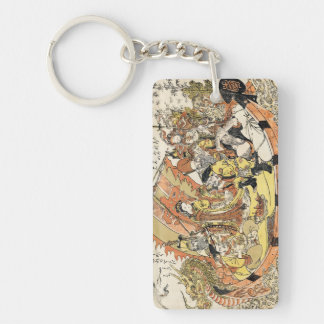 The Seven Gods Good Fortune in the Treasure Boat Double-Sided Rectangular Acrylic Keychain