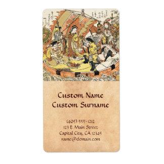 The Seven Gods Good Fortune in the Treasure Boat Label