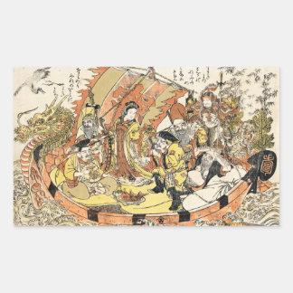 The Seven Gods Good Fortune in the Treasure Boat Rectangular Sticker
