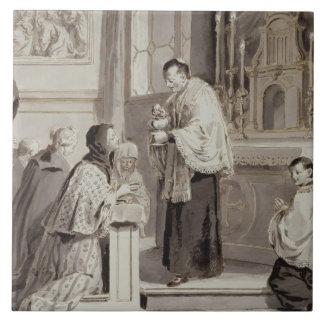 The Seven Sacraments: Communion, 1779 (pen, brown Ceramic Tile