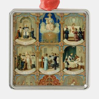 The Seven Sacraments Square Metal Christmas Ornament