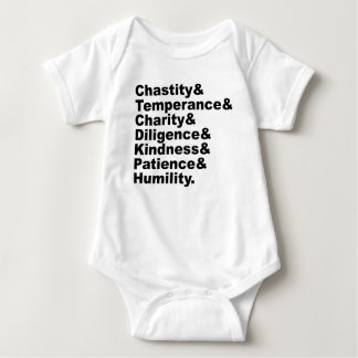 The Seven Virtues As Made Popular By The Bible Baby Bodysuit