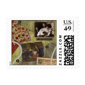 """""""The Sewing Lesson"""" Scrapbook Postage Stamp"""