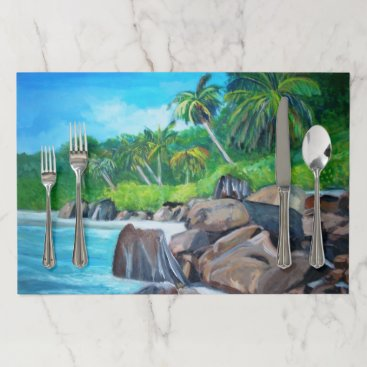 Beach Themed The Seychelles-  Large Placemat