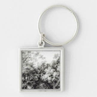 The shady alley, c.1773-74 Silver-Colored square keychain
