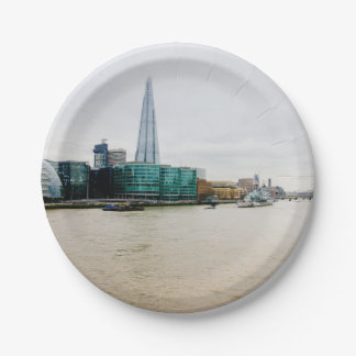 The Shard and river Thames, London UK Paper Plate