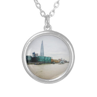 The Shard and river Thames, London UK Round Pendant Necklace
