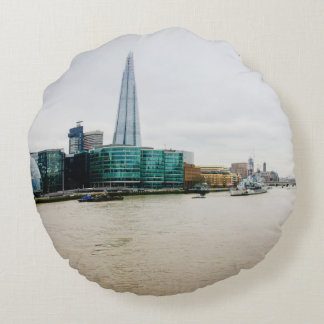 The Shard and river Thames, London UK Round Pillow