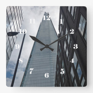 The Shard, London face with numbers Square Wall Clock