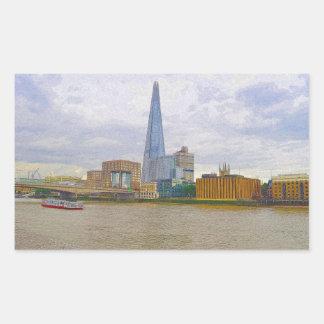 The Shard, Thames River, London, England Rectangular Sticker