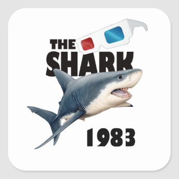 Beach Themed The Shark Movie Square Sticker