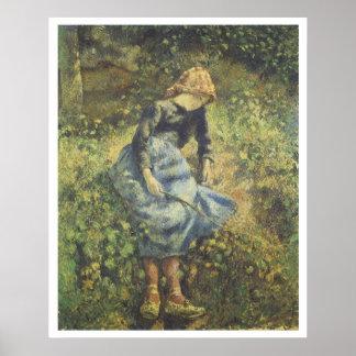 The Shepherdess, 1881 Camille Pissarro Poster