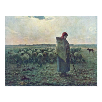 The Shepherdessdeutsch: Shepherdess By Millet  (Be Postcard