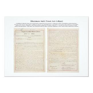 The Sherman Antitrust Act July 2 1890 5x7 Paper Invitation Card