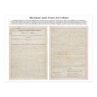 The Sherman Antitrust Act July 2 1890 Post Card