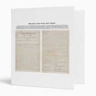The Sherman Antitrust Act July 2 1890 Vinyl Binder