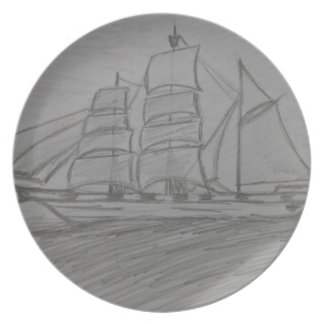 The ship drawing party plate