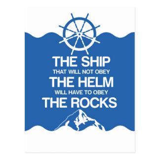 The Ship The Helm The Rocks! Postcard