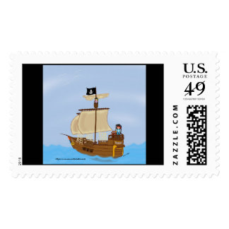 The Ship WIth Pirates Postage Stamp