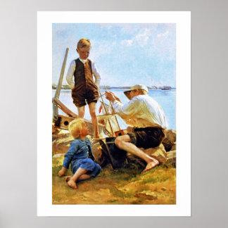 """The shipbuilders"" by  Albert Edelfelt Poster"