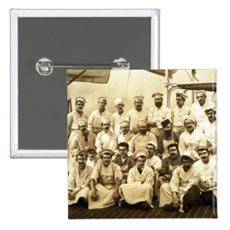 The ship's cooks aboard the R.M.S. Teutonic (b/w p 2 Inch Square Button