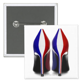 The shoes are women's high heeled shoes, also pinback button