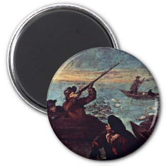 """The Shooter In The Barrel"""" By Longhi Pietro Refrigerator Magnet"""