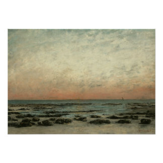 The Shore at Trouville: Sunset Effect; 1865 Print